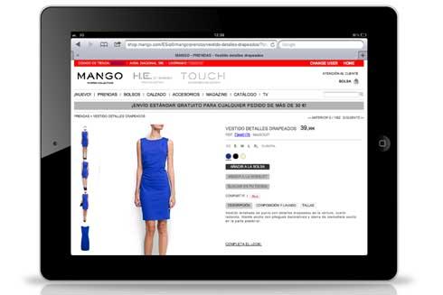 Mango équipe certains de ses magasins d'écrans connectés au catalogue web