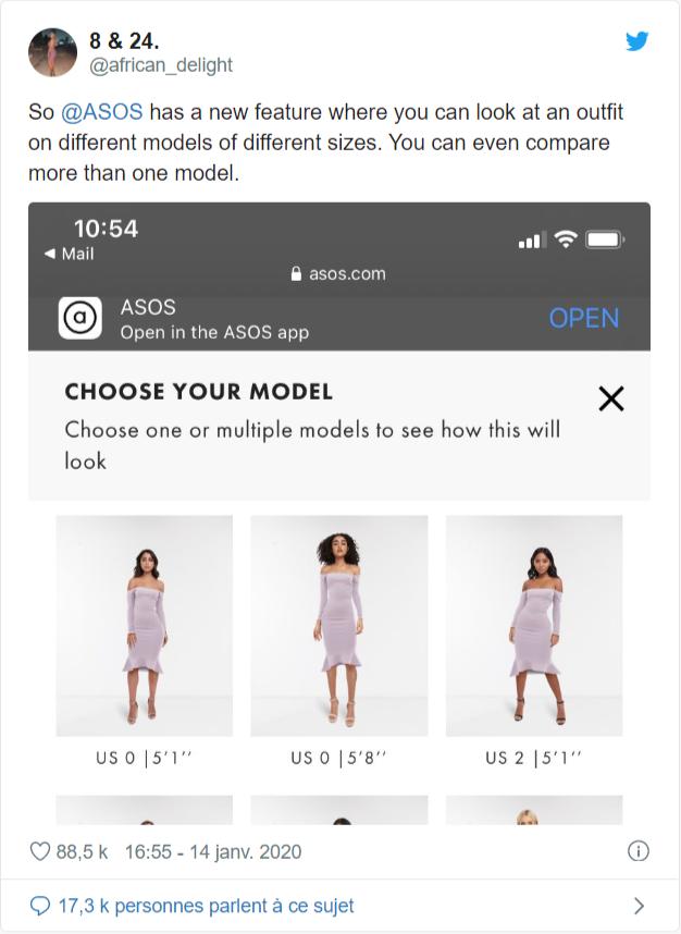 Asos, la réalité augmentée pour aider ses clients en ligne